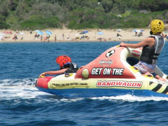 getting pulled by a jet ski on Leonie's B-Day.