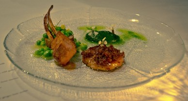 Flinders Island lamb, nettle puree, peas and wild garlic