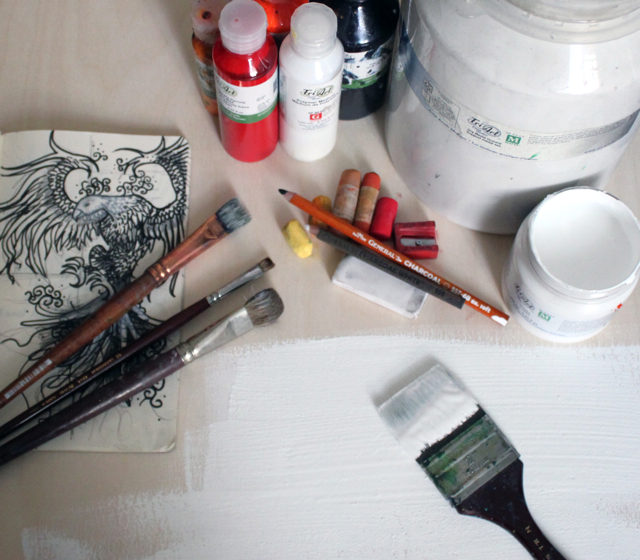 """materials • My favorite tools: Birch Panel 24""""x18"""" Tri-Art Finest Quality Gesso (fav is clear, but here I used White) Tri-Art Finest Quality Dry Media Ground Tri-Art Finest Quality Liquid Acrylics (for this piece I used Carbon Black, Transparent Pyrrolle Red Medium & Indian Yellow) General's Charcoal Pencil 6B General's White Pastel Pencil White Vinyl & kneadable Eraser General's Soft Lead Pencil Sharpener Unison Soft Pastels Bristle Brushes in a variety of sizes (for blending)"""