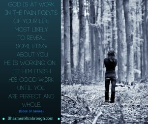 God is at work in the pain points of your life, most likely to reveal something about you He is working on. Let Him finish His good work until you are perfect and whole. - Book of James