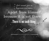 God cannot give us happiness and peace apart from Himself, because it is not there. There is no such thing. -C.S. Lewis