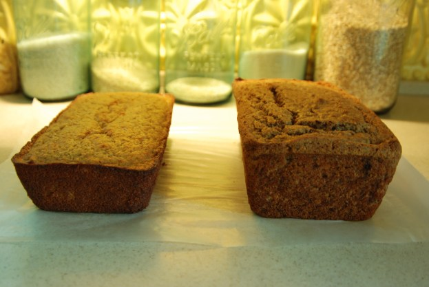 This is just two of the many loaves I made-the one on the left is gluten free, the one on the right is made from a organic sprouted wheat and spelt grains. The color will vary depending on what kind of flour you use