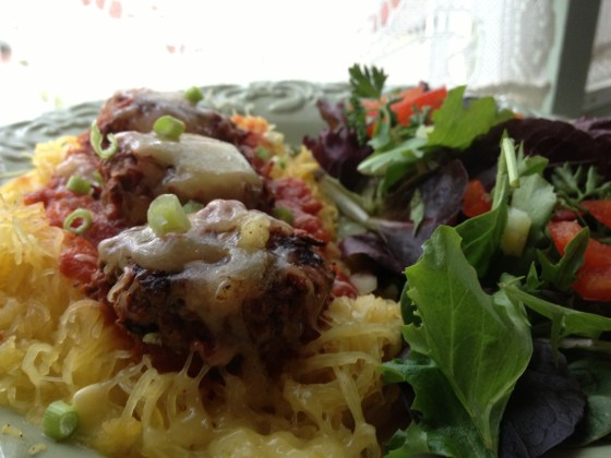 Spaghetti squash and meatballs w/ alkaline salad- 3/4 of plate is alkaline 1/4 healthy acid
