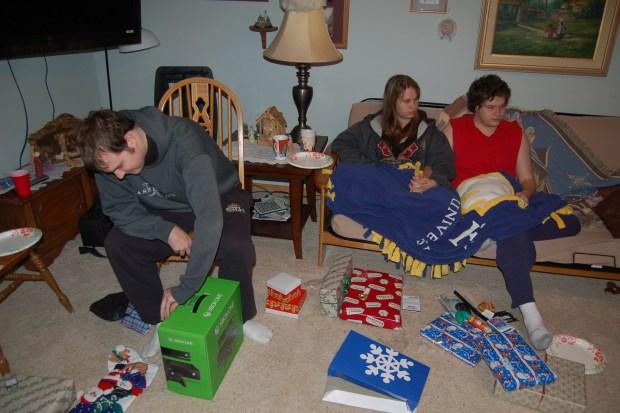PJs and Presents - Christmas morning 2013