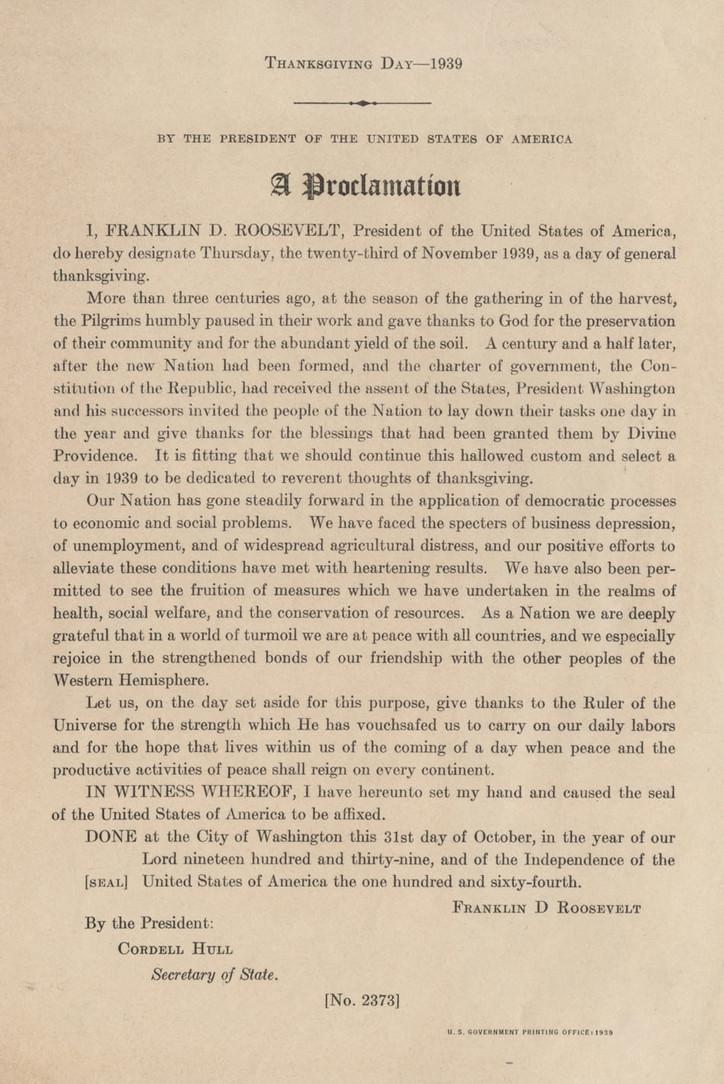 FDR 1939 proclamation