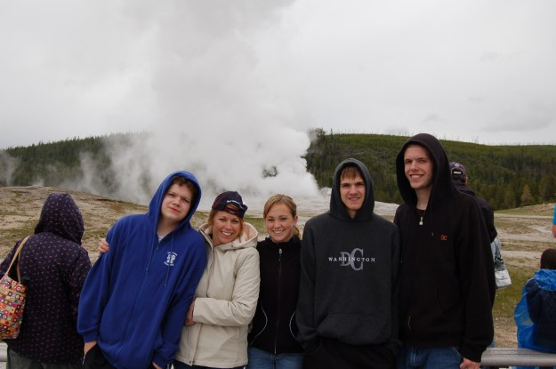Yes, that is Old Faithful behind us; only 30 minutes behind schedule!