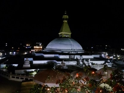Boudhanath Stupa at night, recently repaired after the earthquake in 2015.