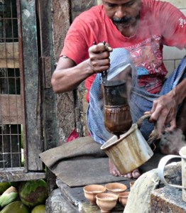 A street vendor in Kolkata prepares chai tea. But no disposable cups here...I enjoyed my piping hot tea in a handmade clay cup.