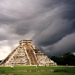 On my first trip to Chichen Itza years ago, we climbed the near-vertical steps of El Castillo. Bonus was watching the lightning storm from the top! (Yucatan, Mexico)