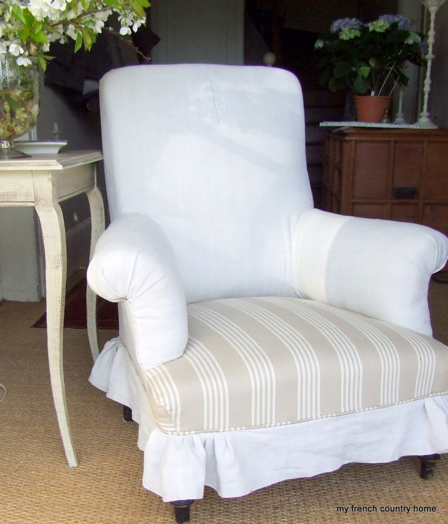 White Wingback Chair With Pink Striped Cushion