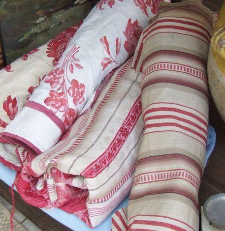 antique textiles at a brocante fair