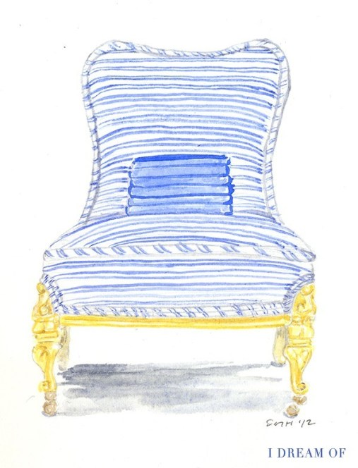 chair in striped pajamas