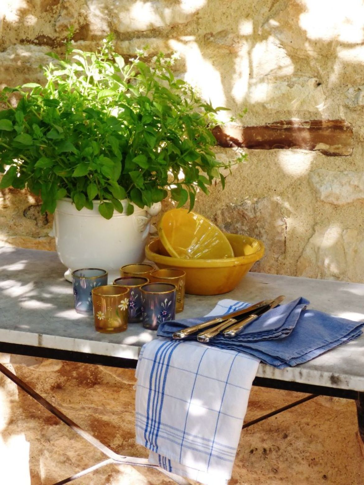 plant and candles on outdoor  bistrot table
