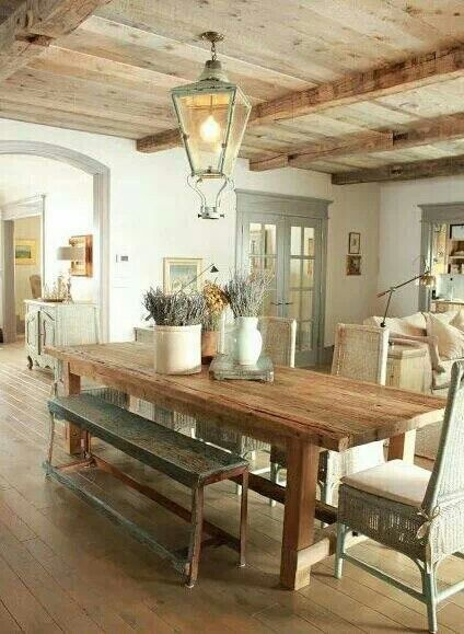 table and benches in country kitchen
