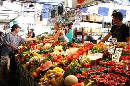 market stalls on a street in Paris