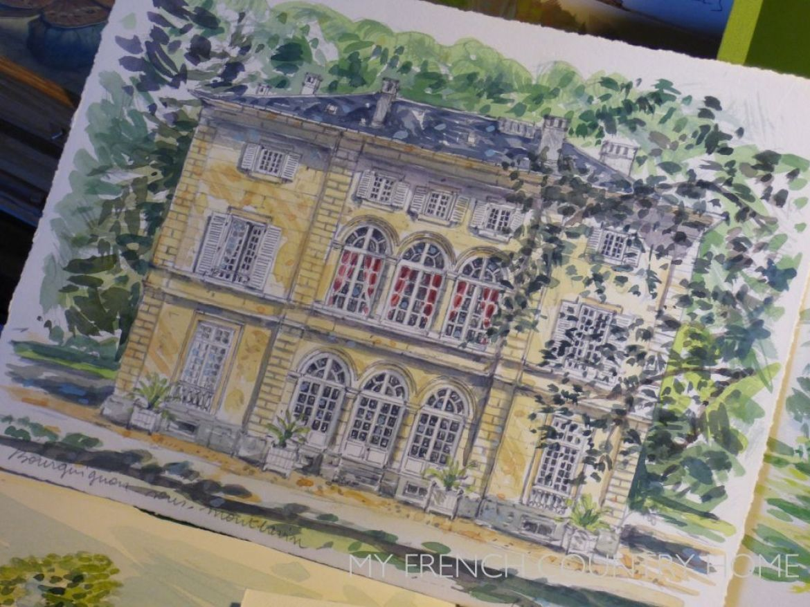 WATER COLOUR PAINTING OF FRENCH MANSION HOUSE