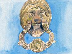 watercolour of door knocker