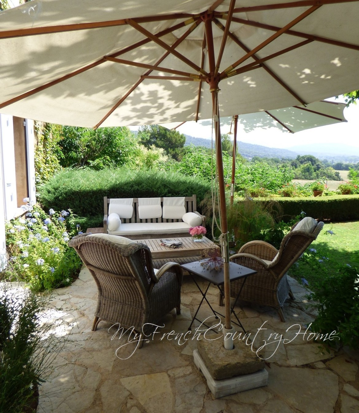 garden seating in french home