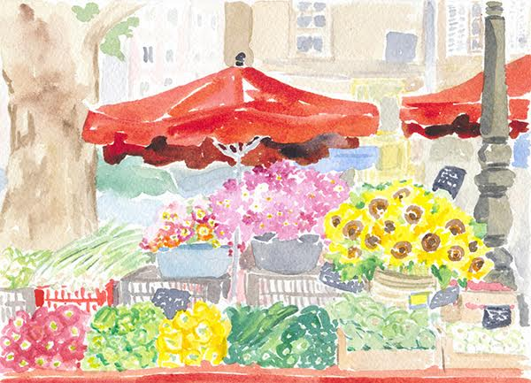watercolour of french food market