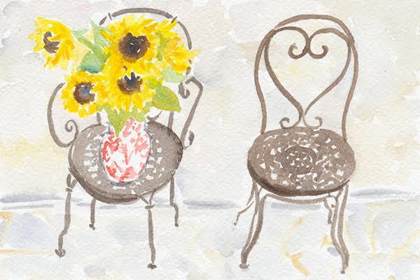 watercolour garden seats
