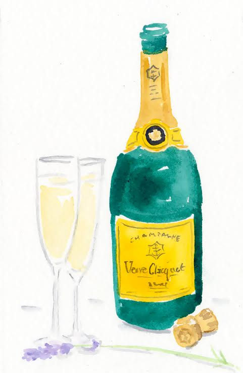 watercolour champagne and glasses