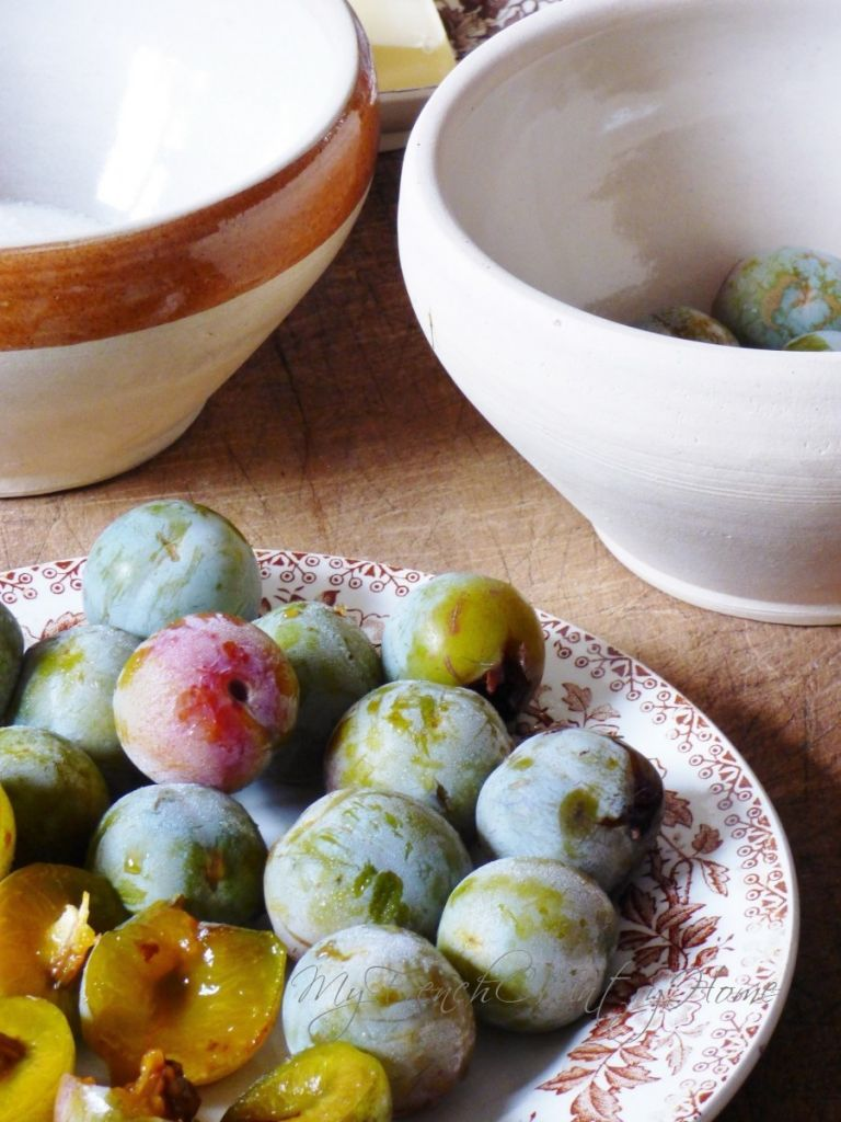 plums cut up for a tart