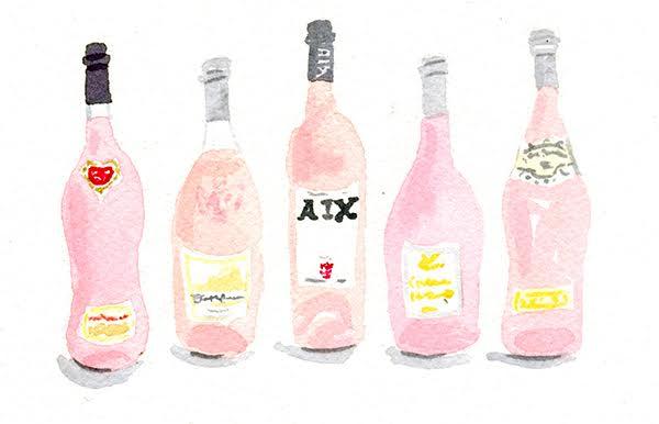 watercolour rosé wine