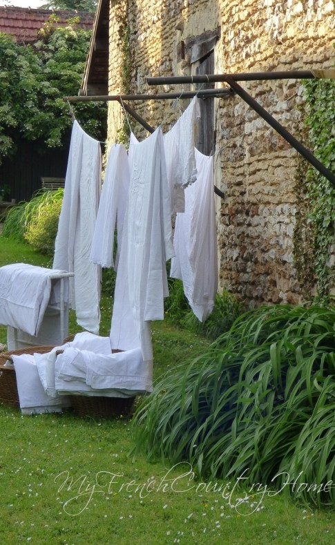 linens hanging to dry
