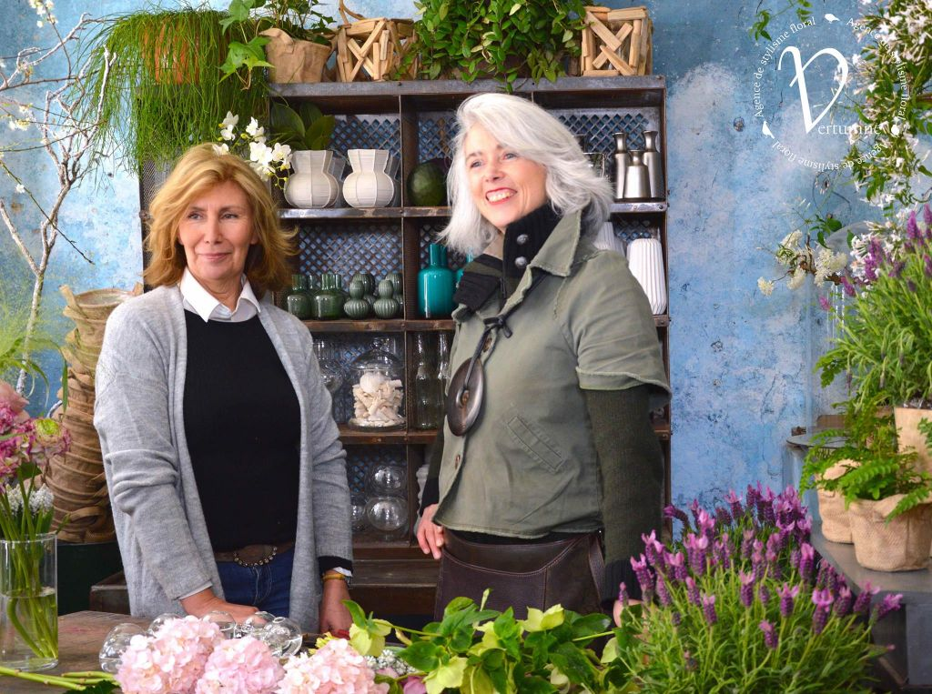 sharon santoni and clarisse beraud in flower workshop