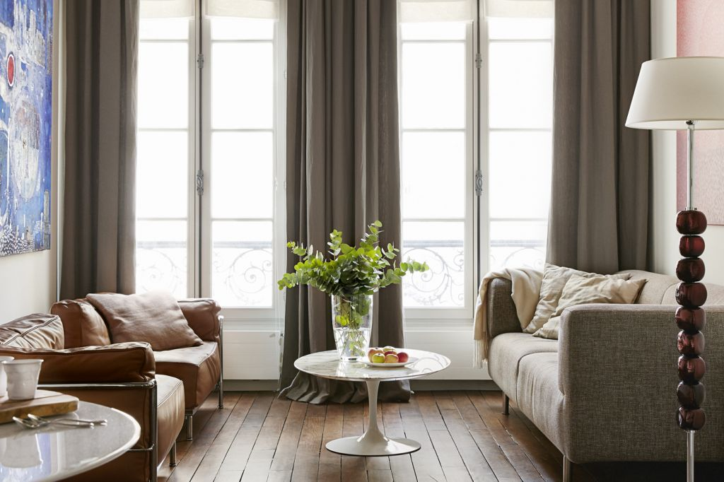 french sitting room with wooden floor