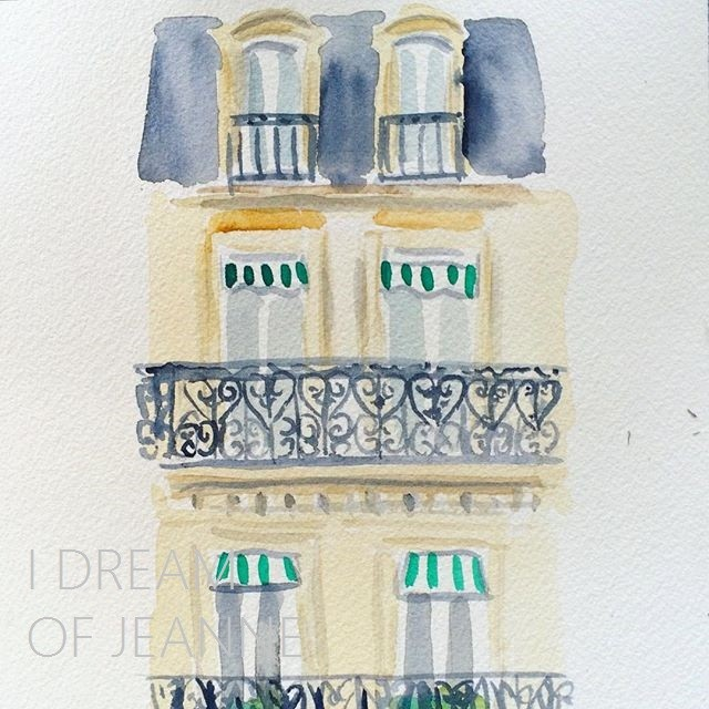 watercolour of paris facade