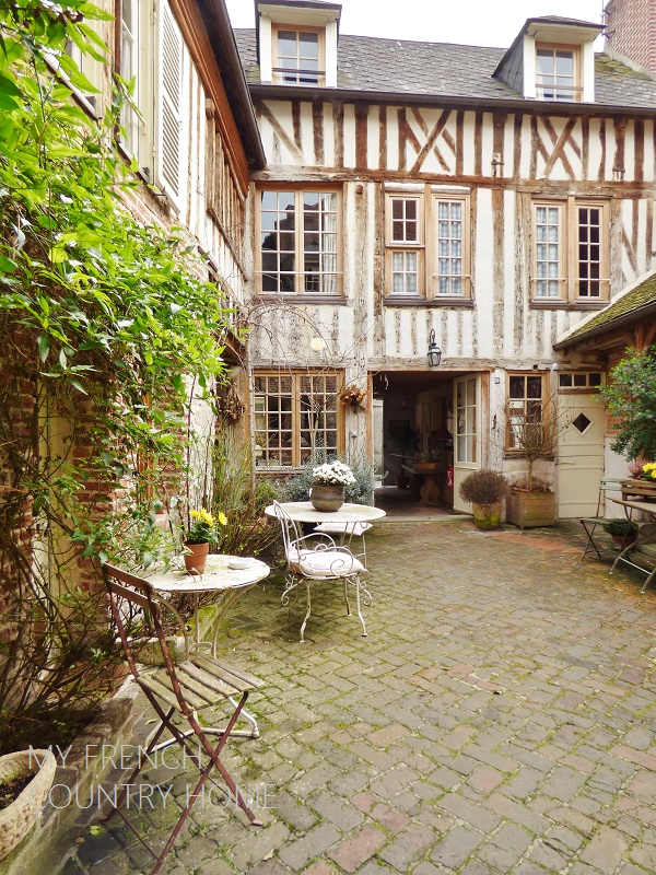 courtyard on timbered house