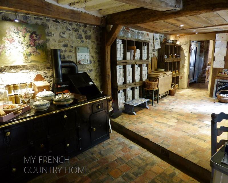 view through french kitchen