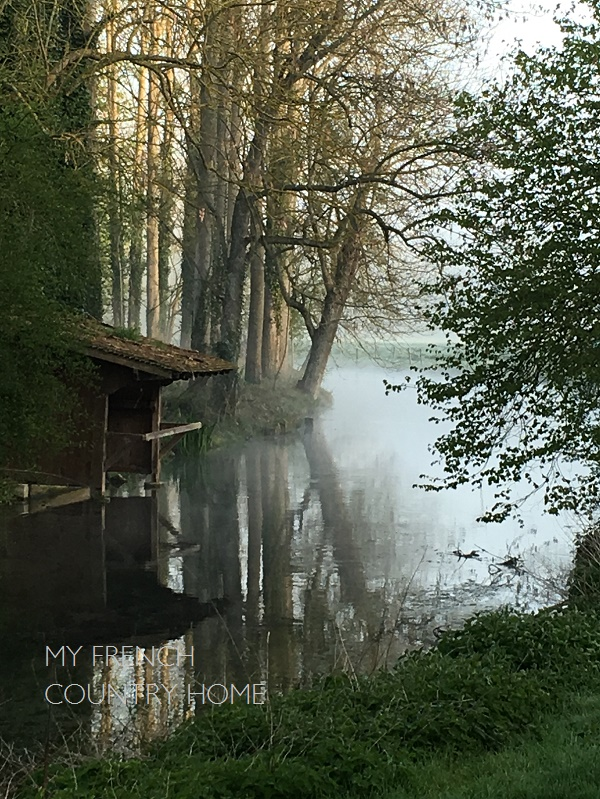 early morning mist over the river