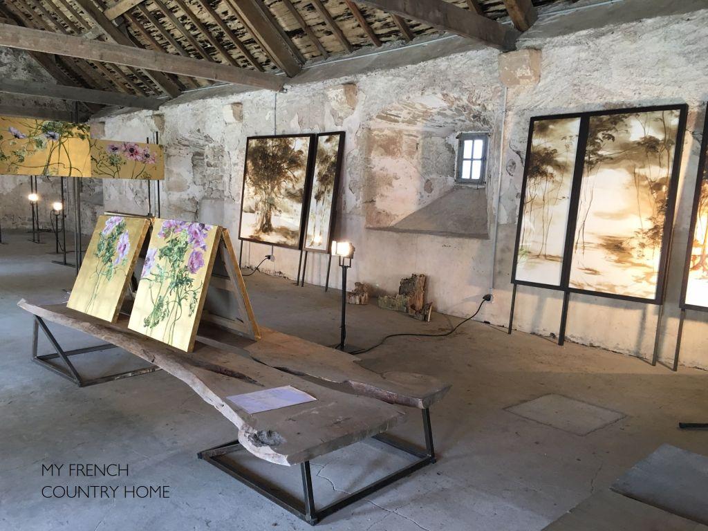 artwork displayed in barn attic