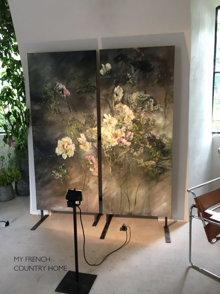 paie of floral paintings by Claire basler
