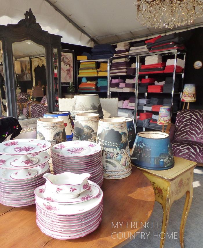 tableware and fabrics at antique fair