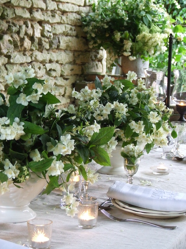 tablescape with white flowers