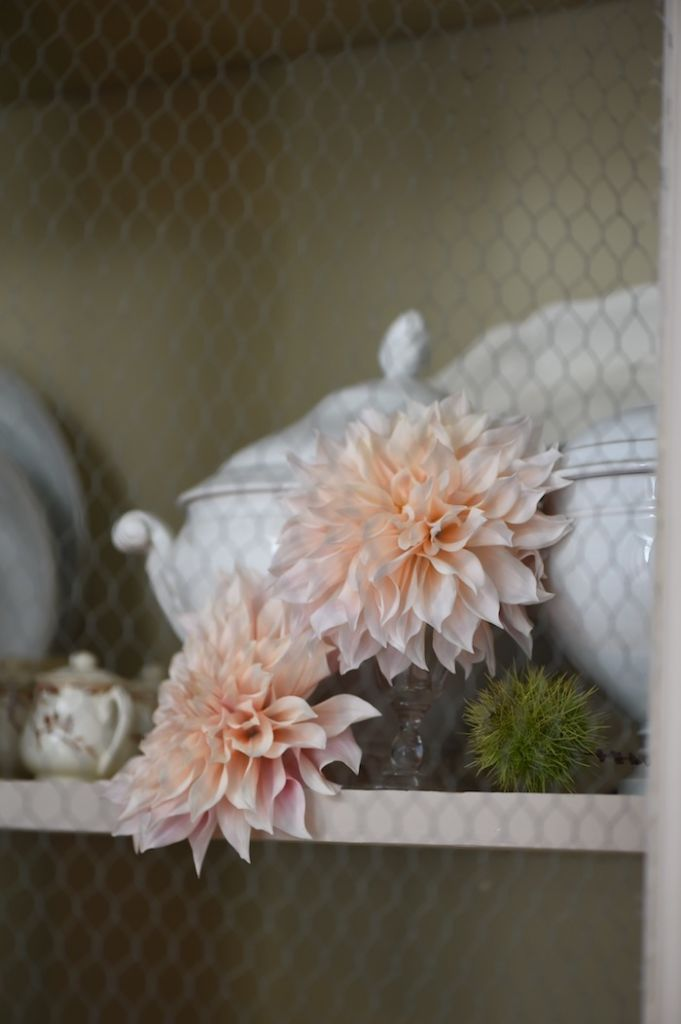 white tureen with dahlia