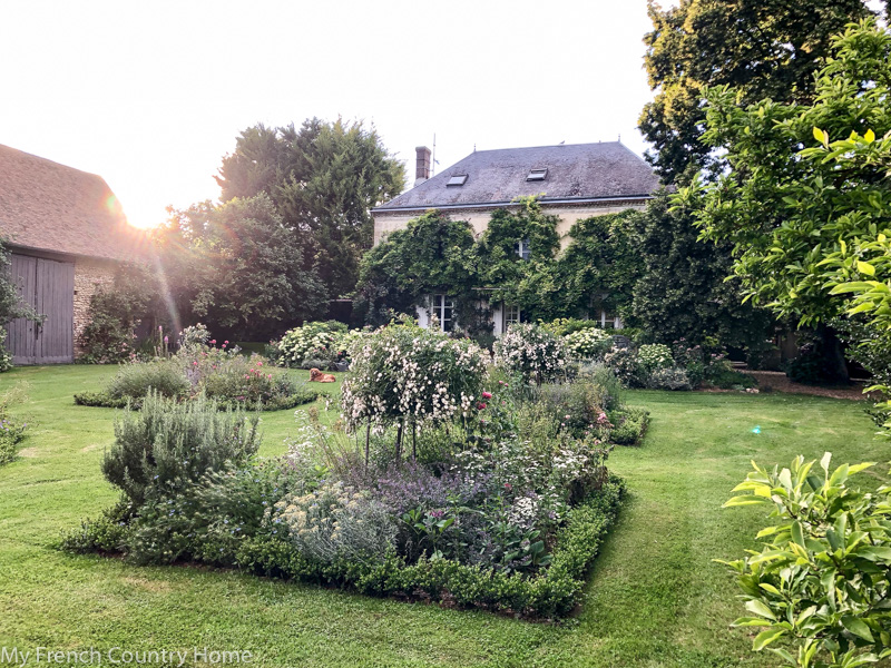 The garden at sunset- My Garden Parterres- MY FRENCH COUNTRY HOME