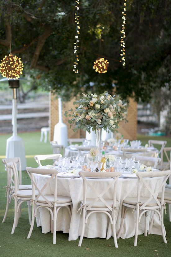 outdoor white table setting