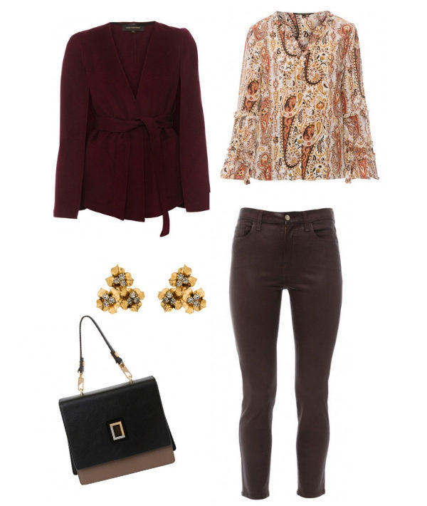 Fall outfit with Halsbrook - burgundy cashmere coat sweater- orange paisley shirt- chocolate paints- stud earrings- black handbag