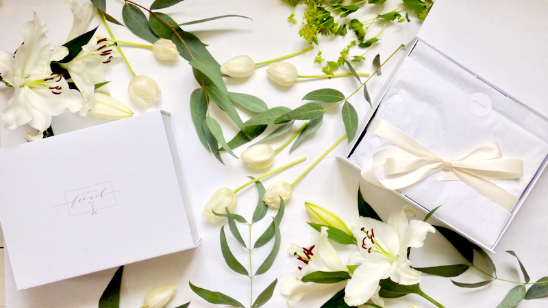 white flowers styled with My Stylish French Subscription Box