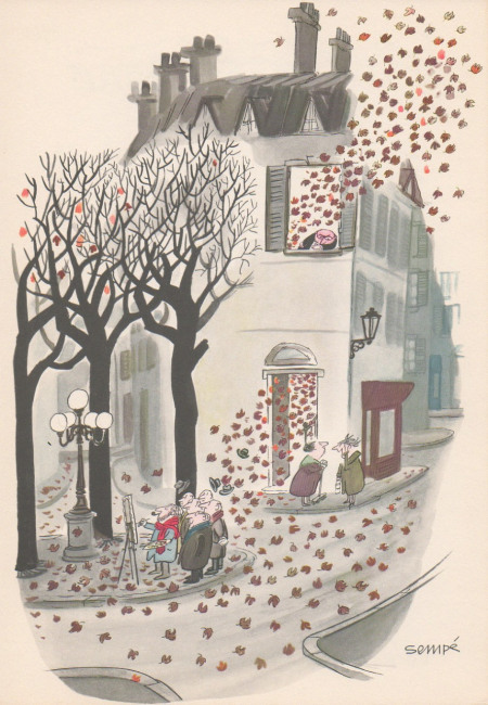 illustration of house in paris in the autumn by Jean Jacques Sempé
