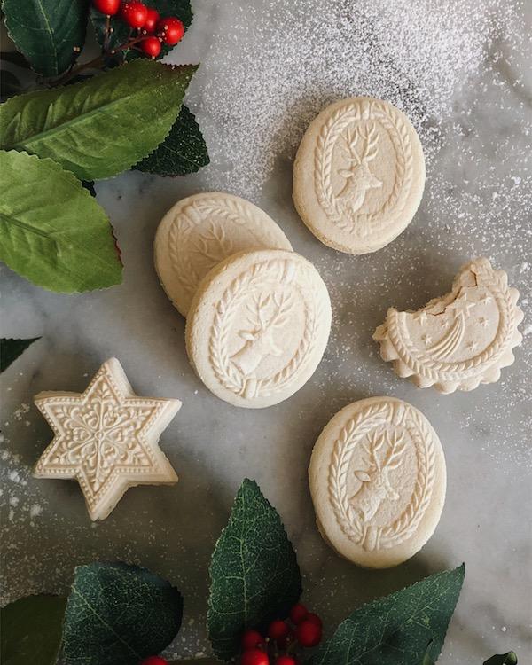 Springerle cookies with greenery