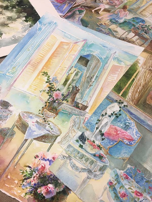 flower vases in watercolors- in the artists atelier with michel charrier- MY FRENCH COUNTRY HOME