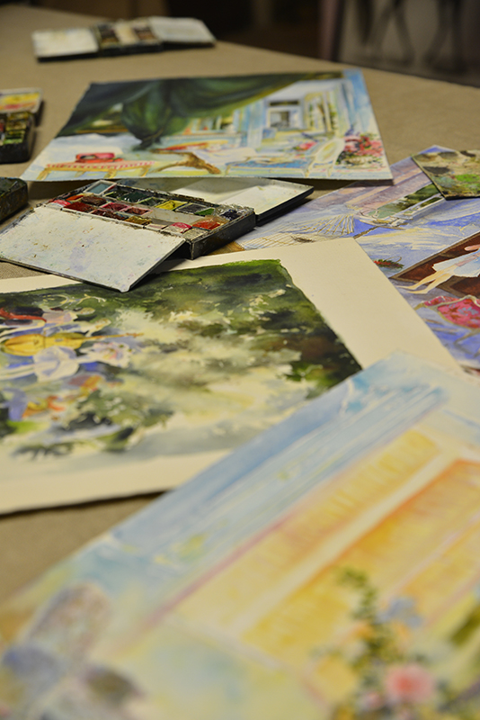a selection of watercolor paintings- in the artists atelier with michel charrier- MY FRENCH COUNTRY HOME