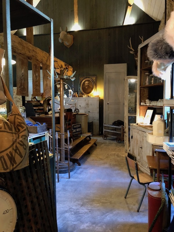 Inside an antique shop in the Normandy countryside
