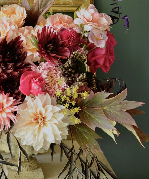 bouquet of dahlias on table