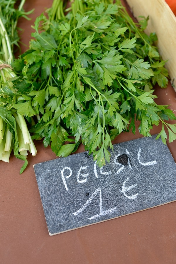 bunches of parsley at the market